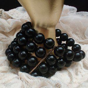 Mod Heavy Wide Black Beaded Bracelet